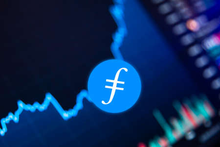 Filecoin FIL Cryptocurrency. Filecoin coin growth chart on the exchange, chart Stock fotó