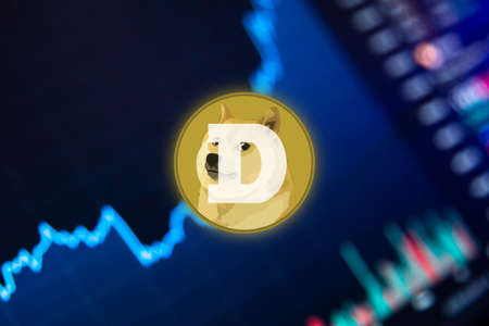 Dogecoin Cryptocurrency. DOGE coin growth chart on the exchange, chart