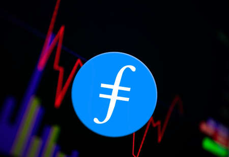 Filecoin FIL Cryptocurrency. coin growth chart on the exchange, chart