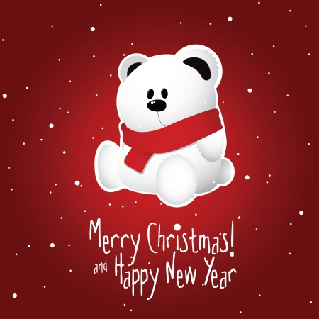 Christmas postcard with white teddy bear on snowy red background Stock Vector - 16211914