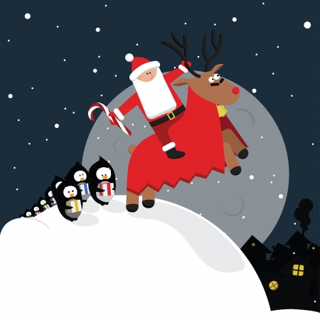 Funny christmas card with battle raindeer and penguins Stock Vector - 16211911