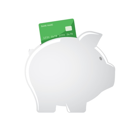 accepting: Piggy bank accepting credit cards