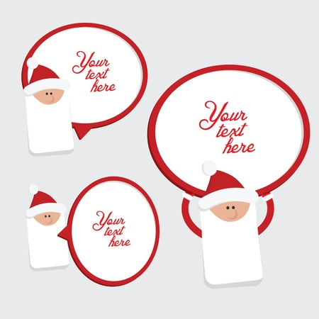Set of 3 red and white christmas labels with Santa Claus Stock Vector - 16438144