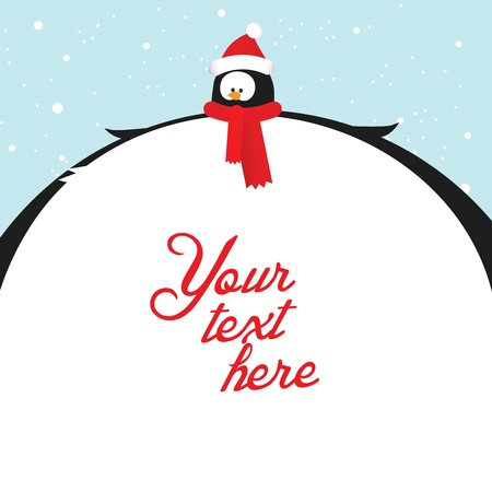 Funny christmas and happy new year postcard with fat penguin and place for custom text Vector