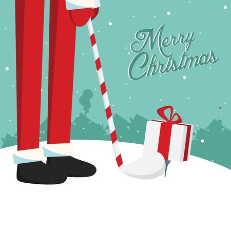 weihnachtsmann lustig: Funny Santa Claus spielt Golf mit Geschenken retro vintage merry christmas Postkarte