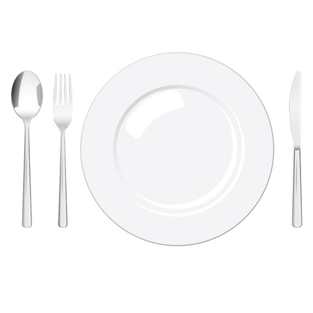 silver ware: Realistic flatware set (spoon, fork, knife and plate) isolated on white background. EPS 10 file, no transparency.