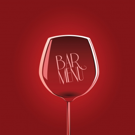 Bar menu design template with wine glass on red background Vector