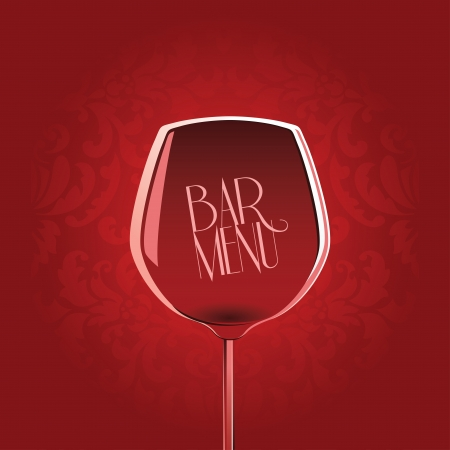 Bar menu design template with wine glass on red damask background Vector