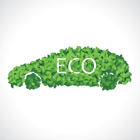 electric car: Eco car made of green leaves concept