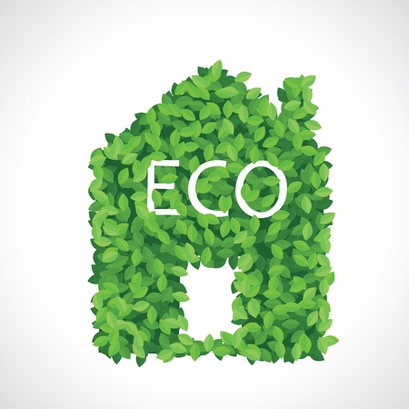 clean energy: Green eco house icon made of leaves