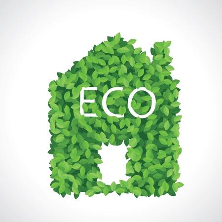 Green eco house icon faite de feuilles