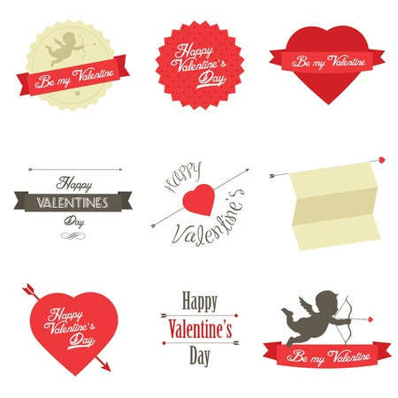valentine s day: Set of Valentine s Day red labels and badges