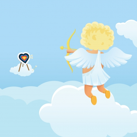 baby: Funny cupid s shooting range Valentine s Day illustration