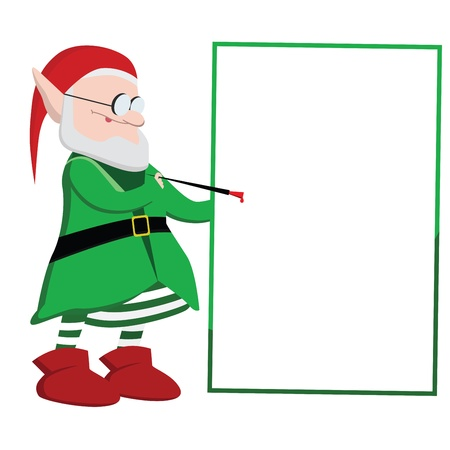 Christmas elf writing on a blank board with red paint Stock Vector - 16952378