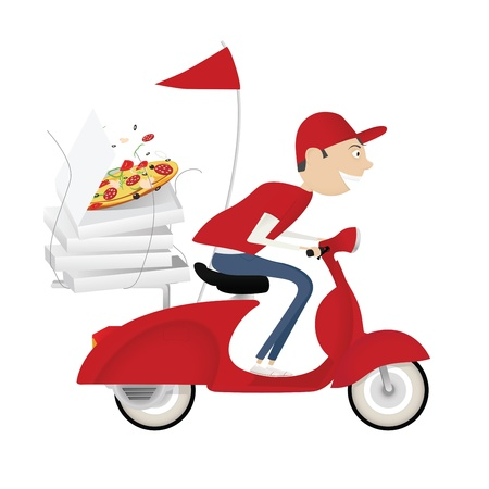 pizza delivery: Funny pizza delivery boy riding red motor bike