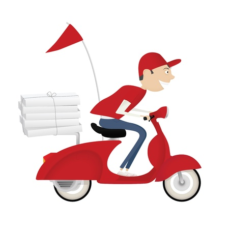 delivery driver: Funny pizza delivery boy riding red motor bike