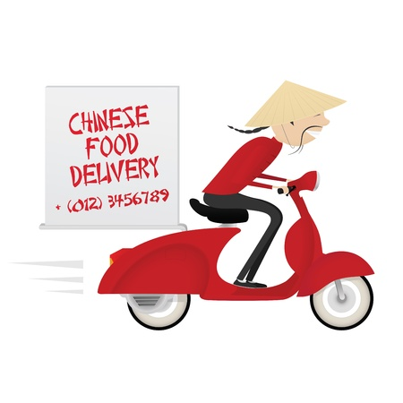 Funny chinese food delivery boy riding motor bike Illustration