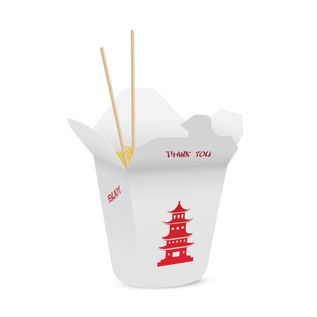 chinese take away container: Chinese restaurant opened take out box filled with noodles