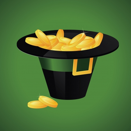 Leprechaun hat filled with gold coins on green background Vector