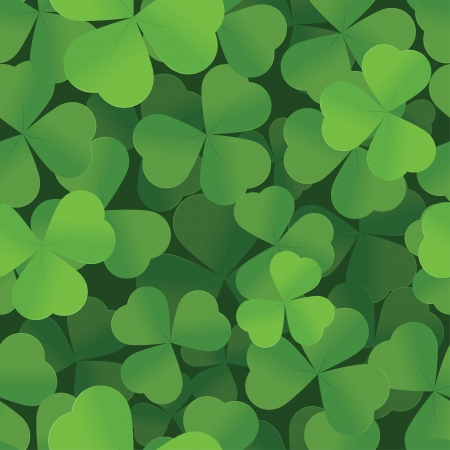 St  Patrick s Day shamrock seamless background pattern Vector