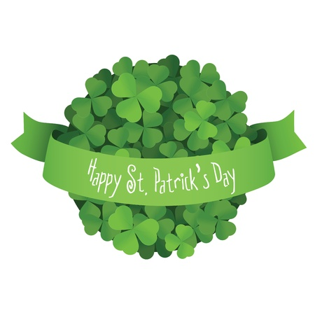 St  Patrick s Day ball made of shamrock leaves with green ribbon Stock Vector - 16979732