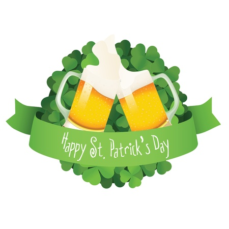 Saint Patrick s Day label with beer and ribbon Vector