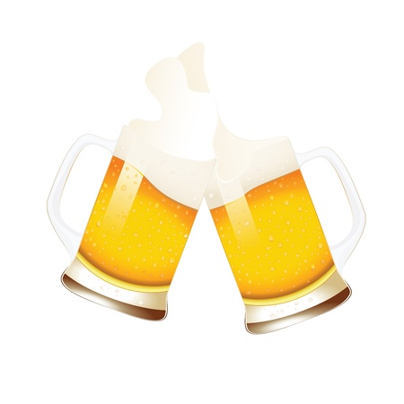 foam party: Beer mugs with splashing foam isolated on white Illustration