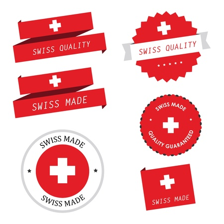 swiss flag: Swiss made labels, badges and stickers