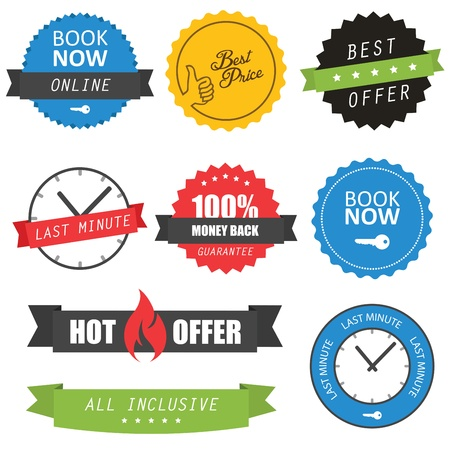 sales book: Set of labels and badges for hotels Illustration