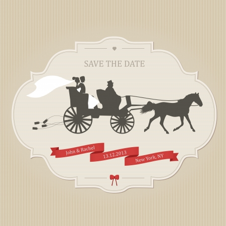Funny wedding invitation with retro carriage dragging cans Vector
