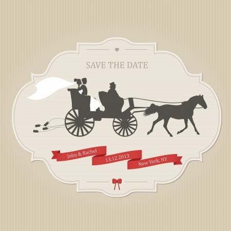 carriage: Matrimonio invito divertente con lattine retr� trascinamento del carrello Vettoriali
