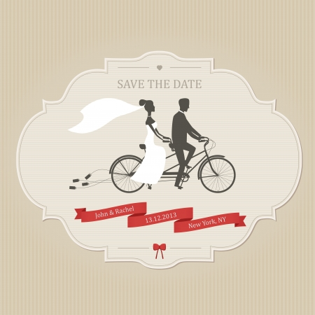 save the date: Funny wedding invitation with bride and groom riding tandem bicycle