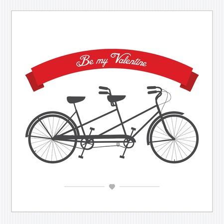Carte postale Saint-Valentin s avec vintage tandem vélo