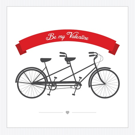 stationary bike: Valentine s Day postcard with vintage tandem bicycle
