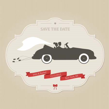 newlywed couple: Funny wedding invitation with bride and groom driving vintage car dragging cans
