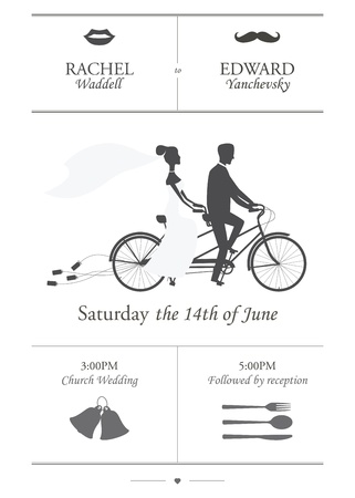 Vintage minimalistic wedding invitation with bride and groom riding tandem bicycle dragging cans Vector