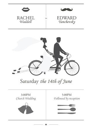 Vintage minimalistische huwelijksuitnodiging met bruid en bruidegom rijden tandem fiets slepen blikjes Stock Illustratie