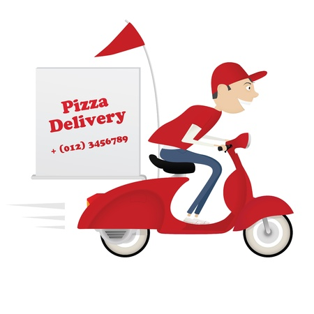 pepperoni pizza: Funny pizza delivery boy riding red motor bike isolated on white background