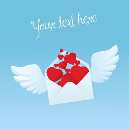 Flying envelope with wings filled with red hearts Stock Vector - 17170807