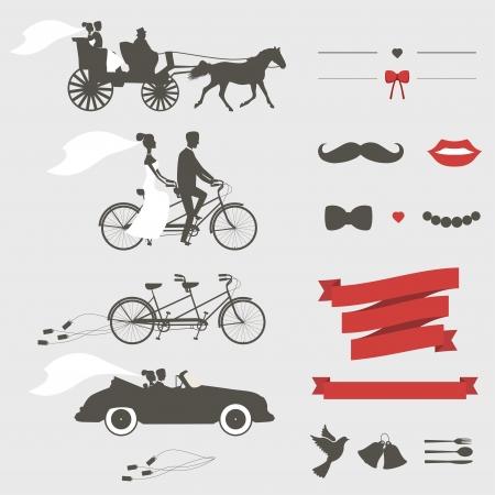 carriage: Set di elementi di design invito di nozze d'epoca Vettoriali