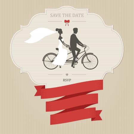 ślub: Vintage zaproszenie na ślub z rowerem tandem i miejsce na tekst