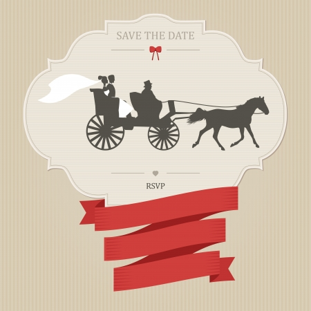 Vintage wedding invitation with retro carriage. Place for custom text Vector