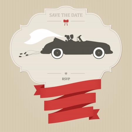 invitacion boda vintage: Invitaci�n de la boda del vintage con la novia y el novio a caballo coche retro Vectores