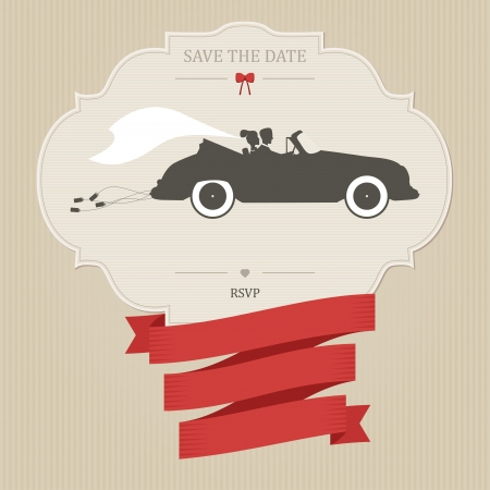 save the date: Vintage wedding invitation with bride and groom riding retro car Illustration