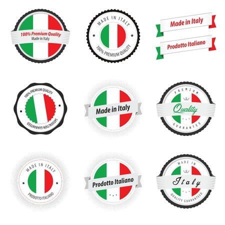 flag italy: Made in Italy Juego de etiquetas y escudos Vectores