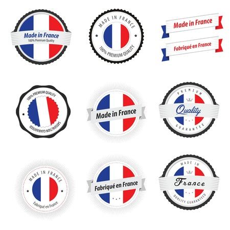 bandera francia: Hecho en Francia Conjunto de etiquetas, insignias y pegatinas