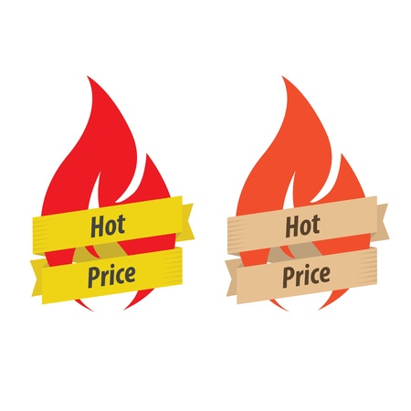 Set of 2 hot price labels (modern and retro colors) Stock Vector - 17285359