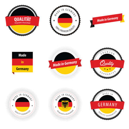 made in: Made in Germany etiketten, insignes en stickers Stock Illustratie