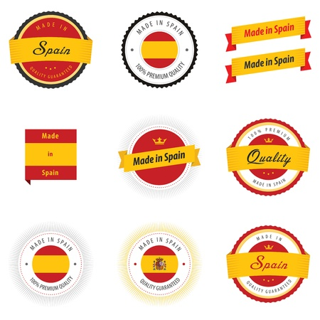 made in spain: Made in Spain labels, badges and stickers Illustration