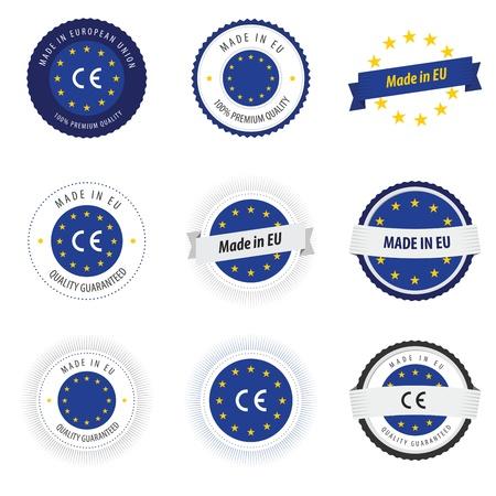 evropský: Vyrobeno v popiscích Evropské unie, odznaky a samolepky